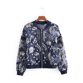 WT2921 Ladies sweet floral embroidery summer organza jacket women chic sunscreen jackets outwear