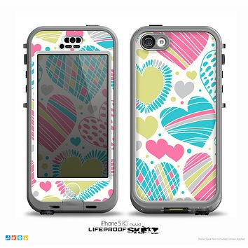 The Fun Colored Vector Pattern Hearts Skin for the iPhone 5c nüüd LifeProof Case
