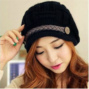 CREYU3C Spring Women Men Unisex Knitted Winter Cap Casual Beanies Solid Color Hip-hop Snap Slouch Skullies Bonnet beanie Hat Gorro