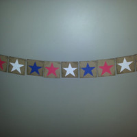Patriotic Stars Banner , 4th of July Banner , USA Banner , USA Bunting , Red White and Blue Banner ,4th of July Decor , Patriotic Bunting