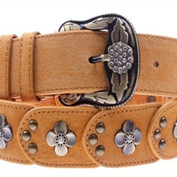 Womens/Ladies Belts Genuine Leather Vintage Flower Pin Buckle All Size 4Colors