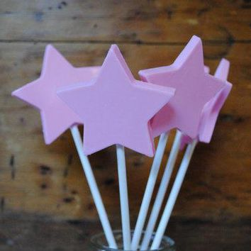 One Dozen Chocolate Princess Wands In Pink With Edible Sparkle