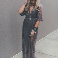 In The Deep Lace Maxi Romper - Midnight Purple