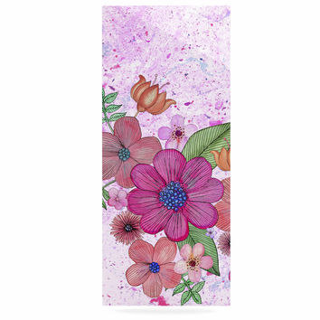 "Julia Grifol ""My Garden In Pink"" Magenta Floral Luxe Rectangle Panel"