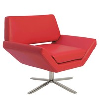 Carlotta Lounge Chair in Red with Brushed Stainless Steel Base