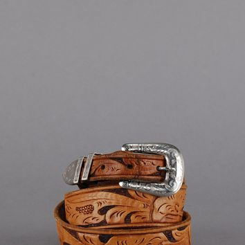 Chambers Skinny Tooled Leather Belt