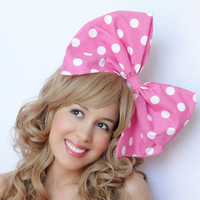 Big Bow Minnie Mouse Bow BIG Hair Bow Clip Hot Pink Hair Bow White Polka dot Bow Accessory Disney Inspired Wedding Bridal halloween costume