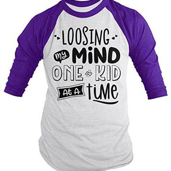 Men's Funny Mom T-Shirt Loosing My Mind One Kid Time Mother's Day Tee 3/4 Sleeve Raglan
