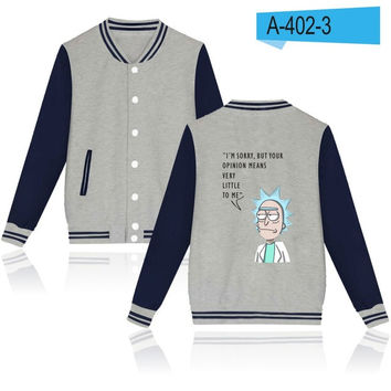 "Rick and morty Bomber Jacket ""I am sorry but your opinion means very little to me"""