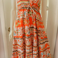 Vintage Colorful Floral Psychedelic Maxi Sun Dress, Spaghetti Strap Ruffle Summer Size S Dress