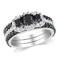 3.50 ct Black diamond  ring in 925 Sterling silver with white diamond accents