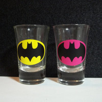 His and Hers Batman Shot Glasses by TheCraftyGeek86 on Etsy
