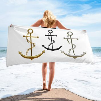 Beach Towel - Anchor Design