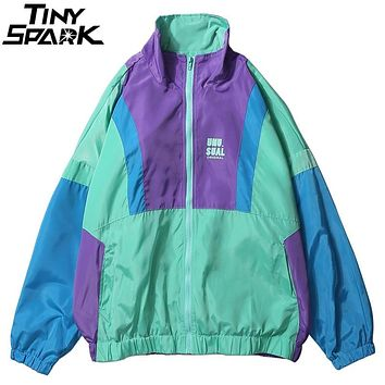 Autumn 2018 Hip Hop Windbreaker Jacket Oversized Mens Harajuku Color Block Jacket Coat Retro Vintage Zip Track Jacket Streetwear