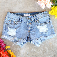 Just USA Button Fly Fray Jean Shorts