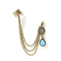 Gold and Turquoise Teardrop Ear Cuff – Claire's