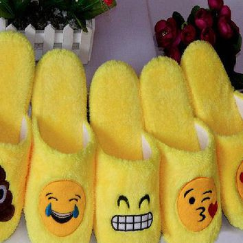 Womens Emoji Plush Slippers