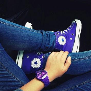 Converse All Star Sneakers canvas shoes for Unisex sports shoes high-top purple