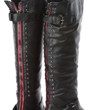 Black Faux Leather Studded Knee High Rider Boots