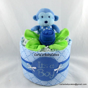 Monkey Diaper Cake, Baby Diaper Cake, Boy Diaper Cake, Baby Shower Gift, Baby Shower Decoration, New Baby Gift, New Mom Gift,  Baby boy gift