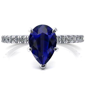 Sicili Pear Blue Sapphire 5 Prong 3/4 Micro Pave Diamond Engagement Ring
