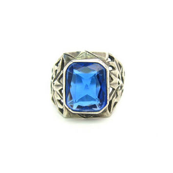 Boho Blue Stone Ring Handmade Pierced Sterling Silver Wide Band Large Octagon Sapphire Glass Rustic Vintage 1970s Bohemian Statement Jewelry