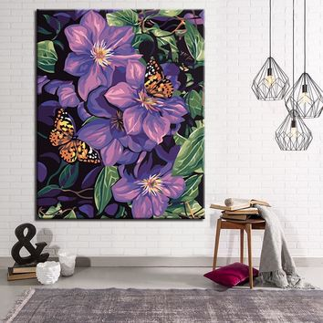 Modular Wall Art Picture Modern Home Decor Butterfly And Purple Flowers DIY Oil Painting By Numbers Kits Coloring Paint Frame