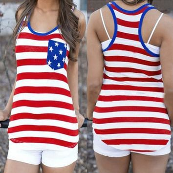 RWL BOUTIQUE USA Flag Women Tank Tops American Flag Print Sleeveless Cropped Feminino See Through Top Female Mar6 W20d40 2018