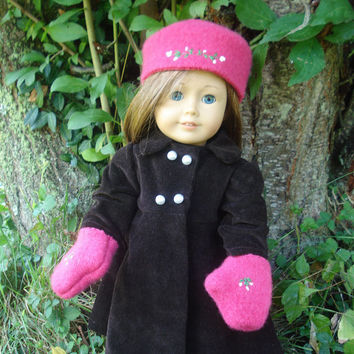 American Girl Doll Clothes, Felted Wool Hat and Mittens, Pink, Russian Style, fits 18 inch Dolls, OOAK
