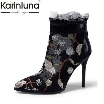 KarinLuna Sexy Women's Pointed Toe High Heel Shoes Woman 2018 Flower Embossed Party Wedding Summer Ankle Boots Big Size 34-42