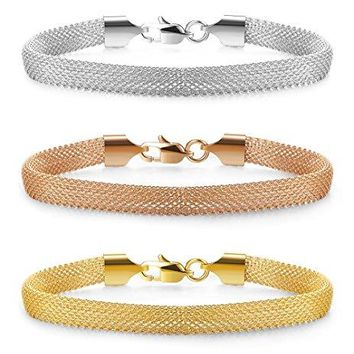 Jstyle Mesh Bracelet Stainless Steel Chain Link Bracelets for Women Girls Rose Silver Golden Tone 7-8 Inch