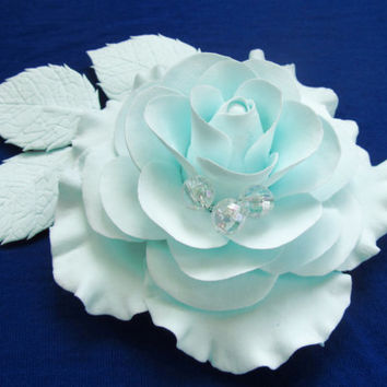 Clip brooch camellia Blue Flower Hair Clip Wedding Bridal Hair Accessory Flower Bridal flower. blue wedding flower, bridesmaid accessories