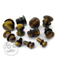 "Single Flare Tiger Eye Stone Plugs | (8 Gauge - 5/8"") 
