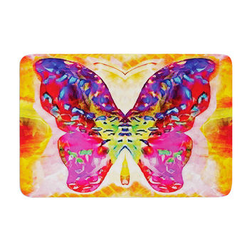 "Anne LaBrie ""Butterfly Spirit"" Pink Yellow Memory Foam Bath Mat"