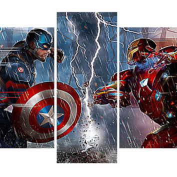 Captain America Vs. Iron Man Canvas Print Wall Art - 5 Pieces
