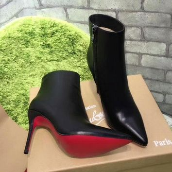Cl Christian Louboutin Top Leather Ankle Boot Black - Best Online Sale