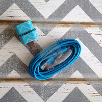 New Super Cute Jeweled Turquoise ZigZag Designed iPhone 5/5s Wall Connector + 10ft Blue Cable Charger