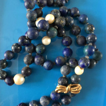 Vintage Antique Early Victorian pearls and Lapis Lazuli Bead Necklace.