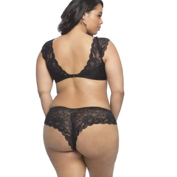 Plus Size Lace Bralette and Panty