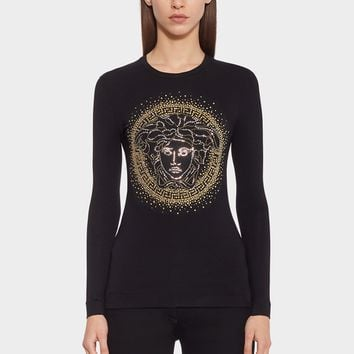 Versace Medusa Studded T-Shirt for Women | US Online Store