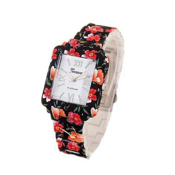 women s casual rectangular face black floral printed steel watch 2