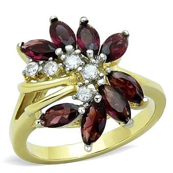 WildKlass Stainless Steel Ring Two-Tone IP Gold (Ion Plating) Women Synthetic Amethyst