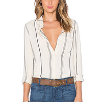 Tailored Boyfriend Shirt in Milk Ticking Stripe