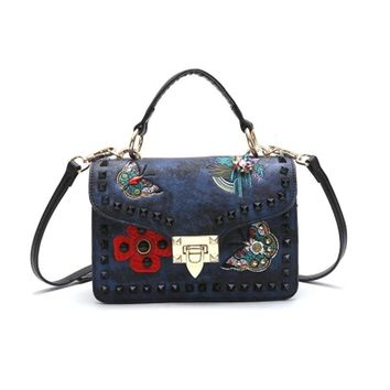 STYLEDOME Women Small Chain Crossobdy Bag Butterfly Embroidered Handbag Square Diamond Rivets Wide Straps Shoulder Messenger Bags Female