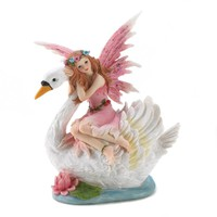Fairy Riding Swan Coin Bank Decor