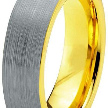 Yellow Grey Tungsten Wedding Ring Flat Cut Comfort Fit and Brushed Polished - 6mm