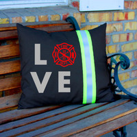 LOVE Maltese Cross BLACK Pillow Firefighter Themed Decor Personalized