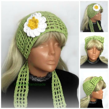 Crochet Summer Headband, Retro Headband,  Floral Crochet , Boho Hairband,Cotton Hair Snood,Wide Headbands,Green