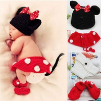 Newborn Girl Baby Hat+Skirt+Diaper Cover+Shoes Crochet Knit Minnie Mouse 4pcs 0-12 Months (Color Red) = 1946464708