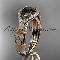 14kt rose gold diamond leaf and vine wedding ring, engagement ring with Black Diamond center stone ADLR85